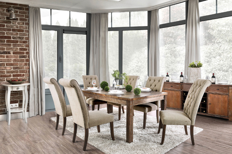 Furniture of america CM3324A-T 7 pc sania i antique oak finish wood rustic style dining table set with tufted chairs