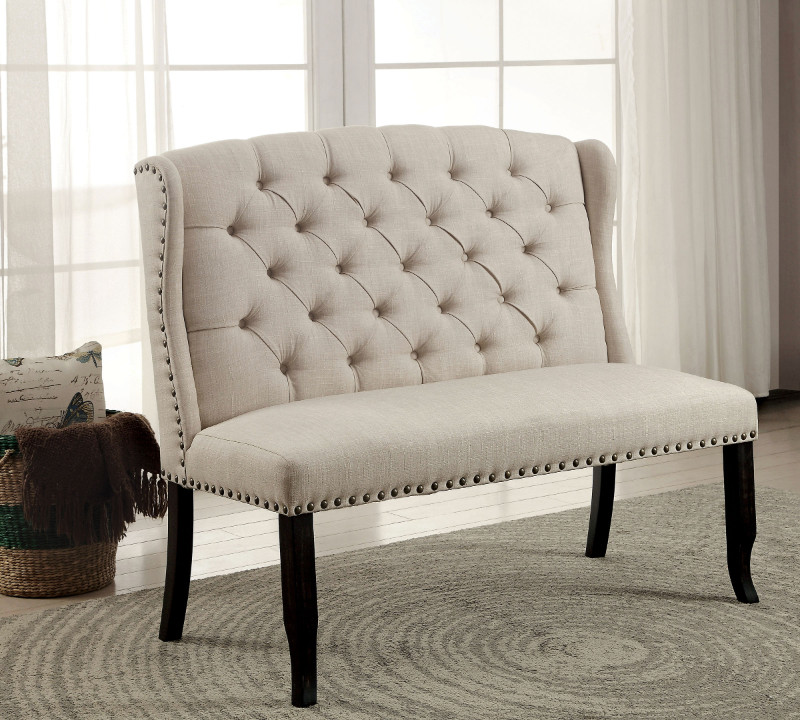 Furniture of america CM3324BK-BN Sania III beige linen like fabric antique black finish wood dining entry bedroom 2 seater bench