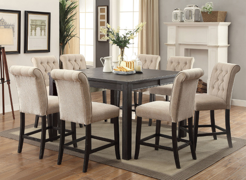CM3324BK-PT-54-9PC 9 pc Gracie oaks sania III antique black finish wood counter height dining table set
