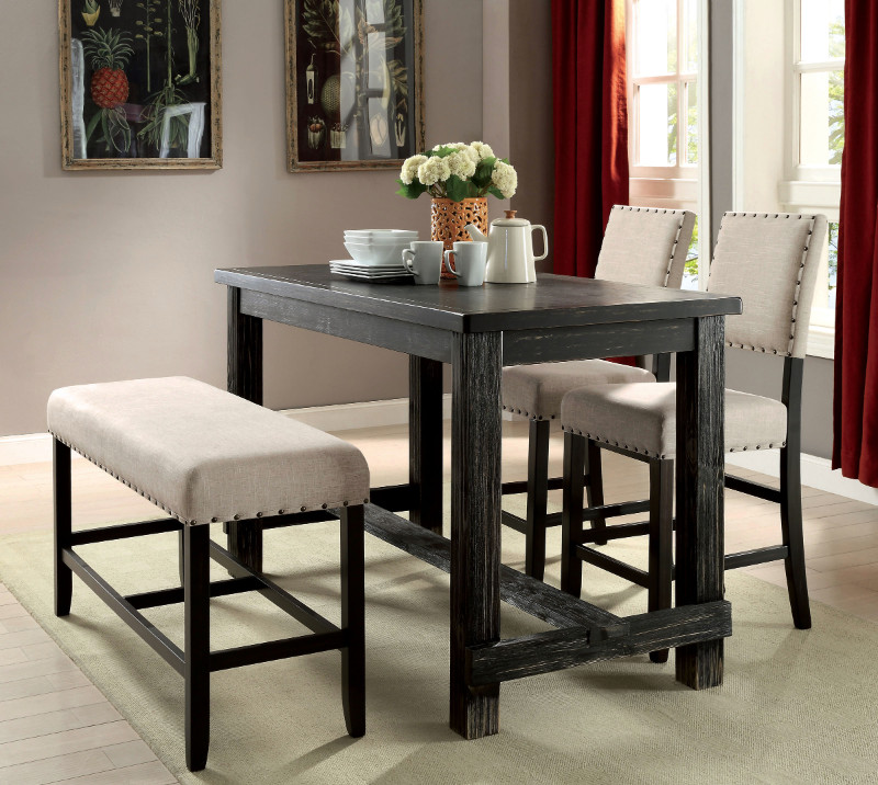 Furniture of america CM3324BK-PT-4PC 4 pc sania black finish wood counter height dining table set with padded chairs
