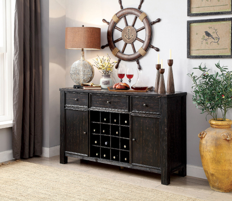 Furniture of america CM3324BK-SV Sania i antique black finish wood rustic style sideboard server