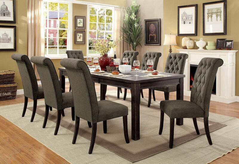 7 pc sania ii collection contemporary style antique black finish wood dining table set with gray padded chairs