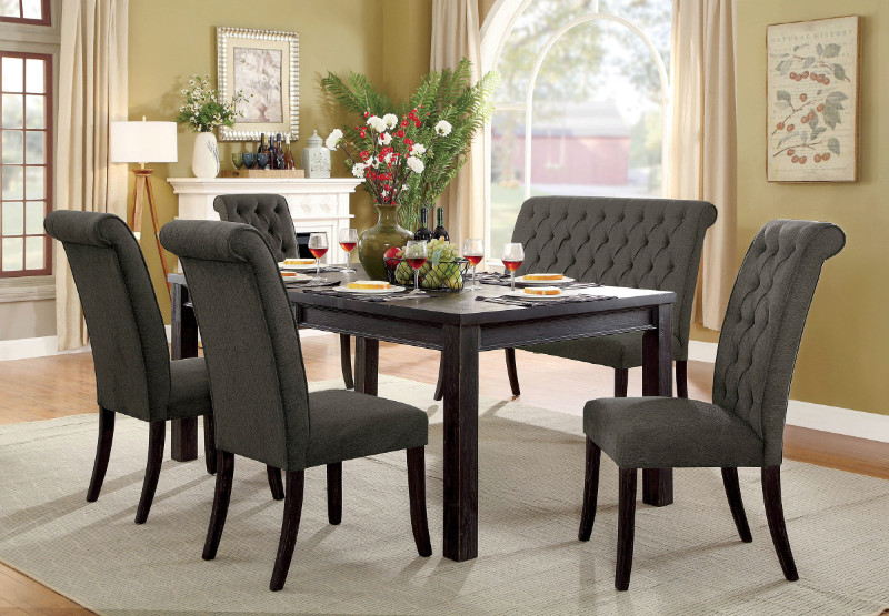 Furniture of america CM3324BK-T-3564GY-6PC 6 pc sania ii antique black finish wood dining table set with gray padded chairs