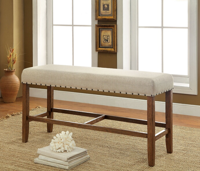 CM3324PBN Sania collection natural tone finish wood counter height dining bench with nail head trim