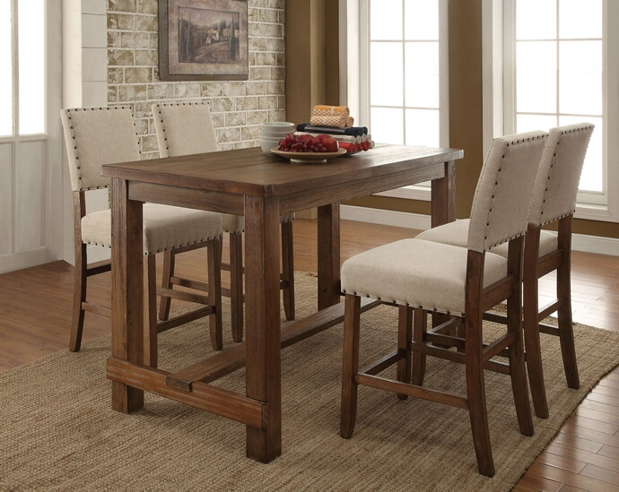 Furniture of america CM3324PT-5PC 5 pc sania natural tone finish wood counter height dining table set with padded chairs