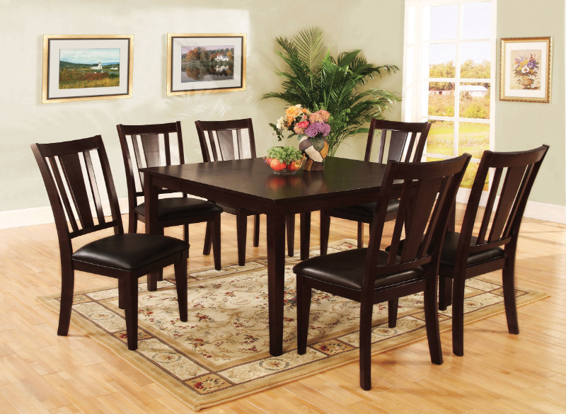 CM3325T-7PK 7 pc Bridgette I transitional style espresso finish wood dining table set with padded leatherette seats