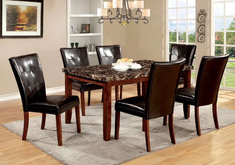 CM3328T 7 pc Elmore I collection modern style antique oak finish wood dining set with faux marble finish top
