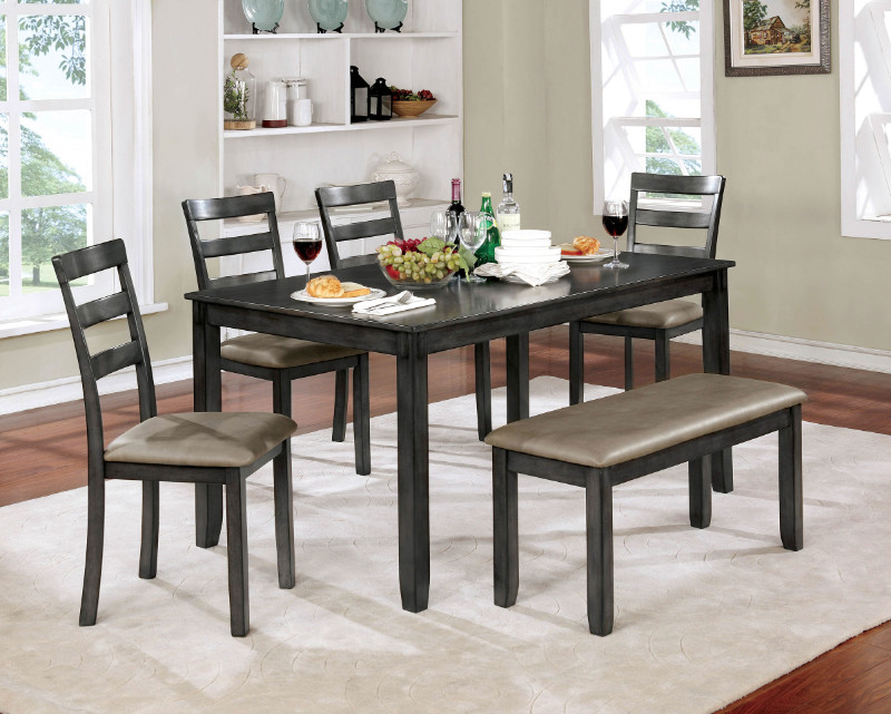Furniture of america CM3331GY-T-6PK 6 pc Gloria gray finish wood dining table set with bench