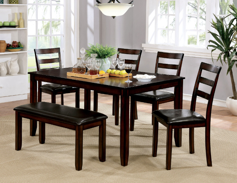 Furniture of america CM3331T-6PK 6 pc Gloria brown cherry finish wood dining table set with bench