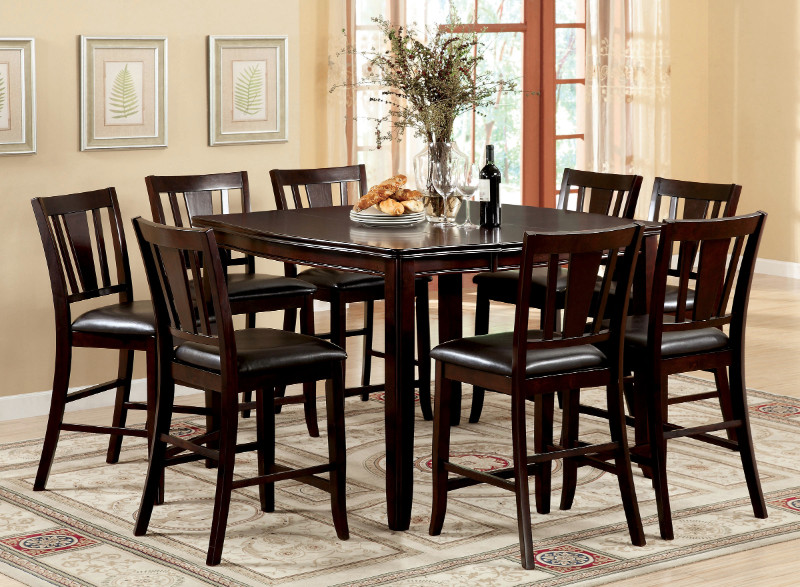 Cm3336pt 9pc 9 Pc Edgewood Ii Counter Height Espresso Finish Wood Dining Table Set