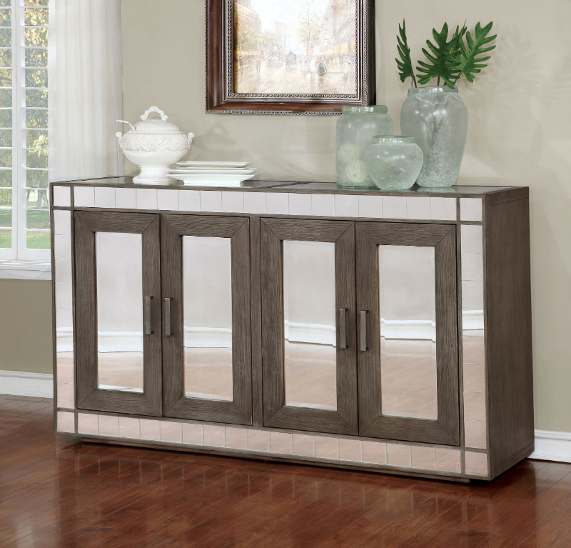 Furniture of america CM3352-SV Sturgis dark gray finish wood dining sideboard server console table