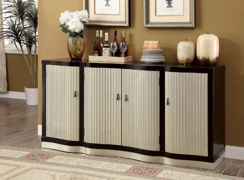 Furniture of america CM3353SV Ornette espresso and champagne finish wood server / sideboard cabinet