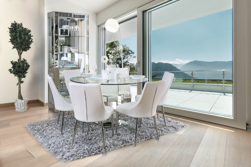 Cm3384rt Wh 5pc 5 Pc Orren Ellis Seibel Izzy Modern Style Silver 50 Round Gl Top Dining Table Set