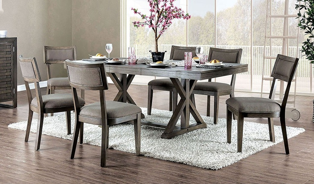 CM3387T-7PC 7 pc Gray barn broken arrow leeds gray finish wood trestle base dining table set