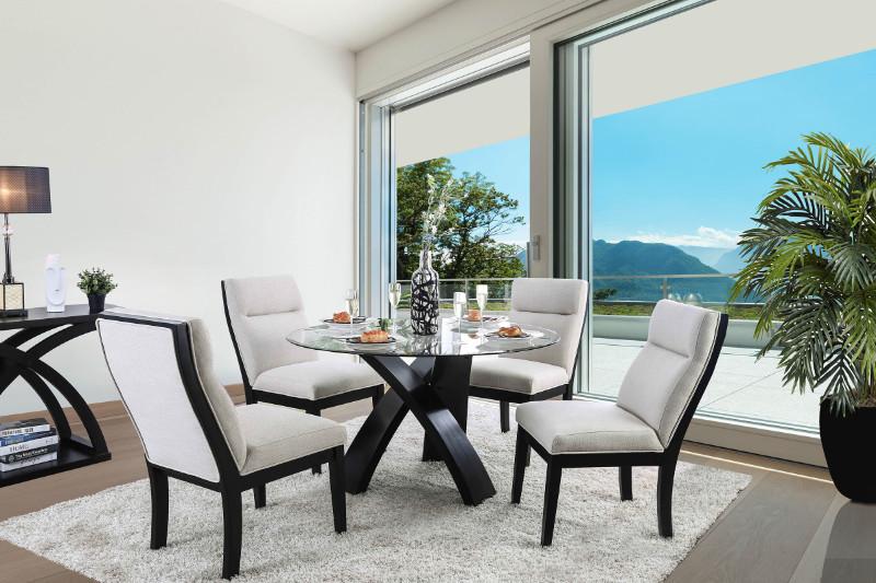 "CM3393RT-5PC 5 pc Altamira jasmin black finish wood 52"" round pedestal dining table set"