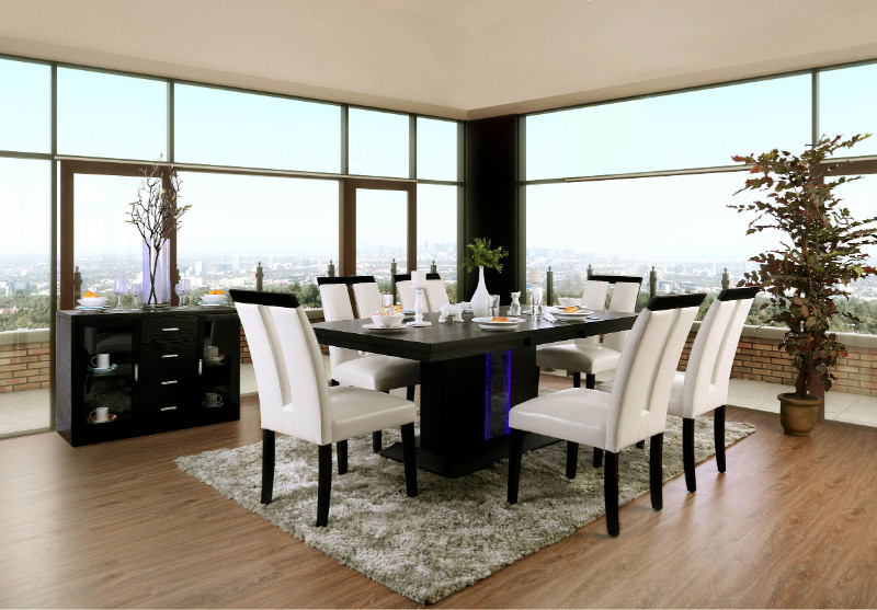 Furniture of america CM3394T-7PC 7 pc Evangeline black finish wood center pedestal led light strip dining table set