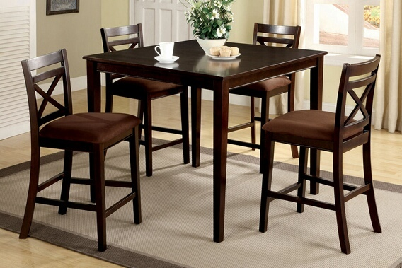 CM3400PT-5PK 5 Pc. Weston II Contemporary Style Espresso Wood Finish Counter Height Dining Table Set