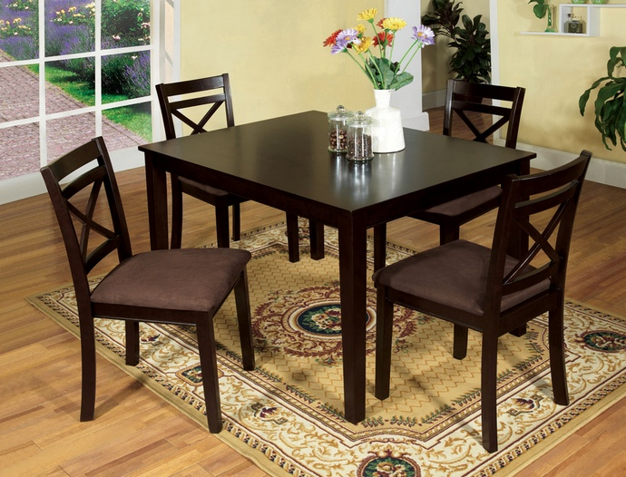 CM3400T-5PK 5 pc. weston i contemporary style espresso wood finish dining table set