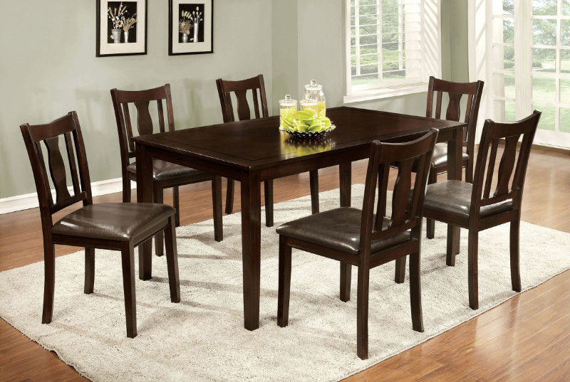 CM3402T-7PK 7 pc Northvale I transitional style espresso finish wood dining table set with padded leatherette seats