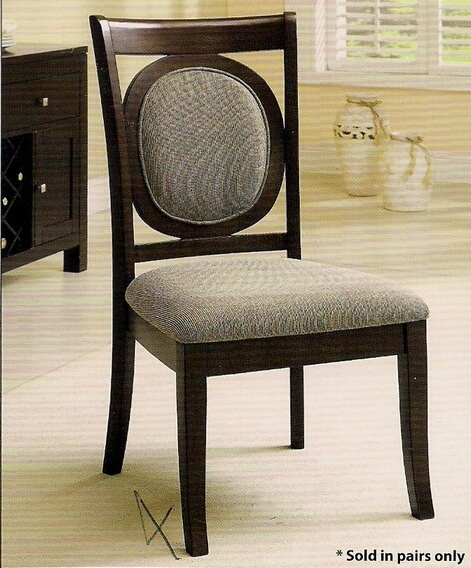CM3418SC Set of 2 Evelyn Side Chair with Upholstered Back and Seat in a Dark Walnut Wood Finish Frame