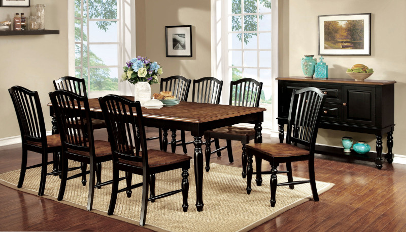 CM3431T 7 pc Mayville collection elegant country style two tone black and vintage oak finish wood dining table set