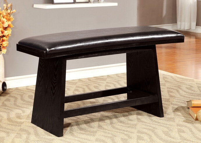 CM3433-BN Hurley collection modern style black finish wood dining bench with upholstered seat