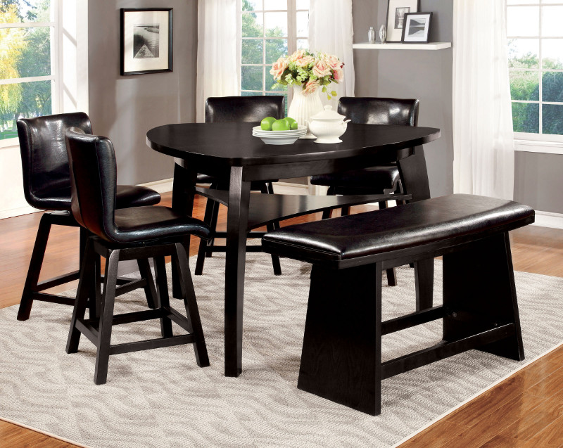 CM3433PT 6 pc Hurley collection modern style black finish wood triangular shaped counter height dining table set with swivel chairs