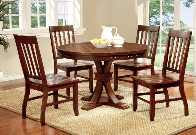CM3437RT 5 Pc. Foster I transitional style dark oak finish wood round dining table with nail head trim edge