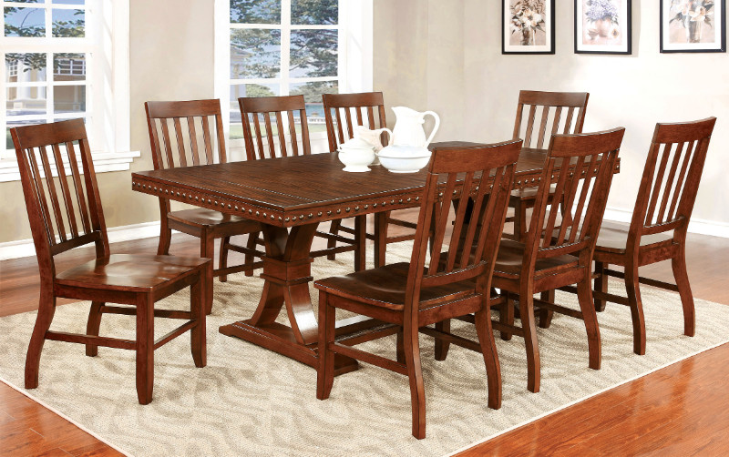 Furniture of america CM3437T-7PC 7 pc foster i dark oak finish wood dining table with nail head trim edge
