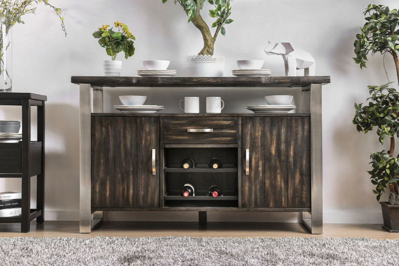 Furniture of america CM3451GY-SV Mandy rustic gray finish wood rustic style sideboard server