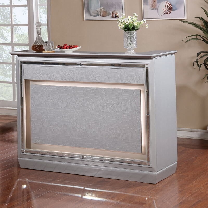 Furniture of america CM3452BT Alena silver finish wood bar table server with wine racks and touch lighting