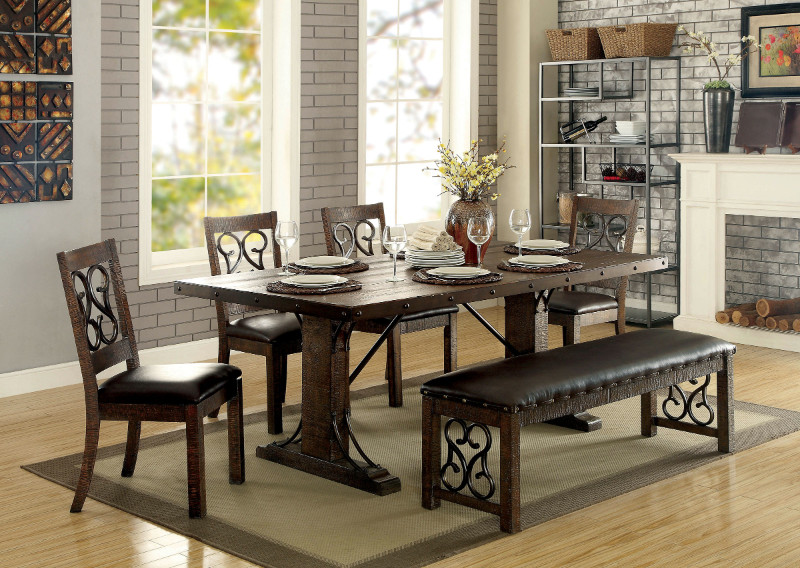 Furniture of america CM3465T-6PC 6 pc paulina rustic walnut finish wood industrial dining table set