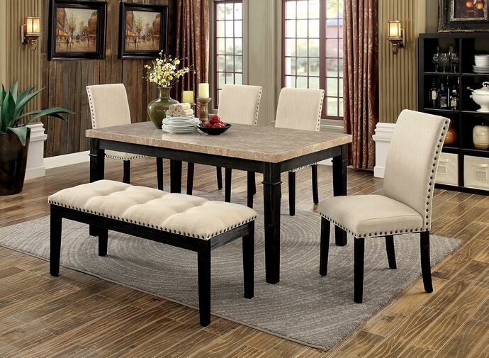 Furniture of america CM3466T-6pc 6 pc dodson i black finish wood faux marble top dining table set with bench