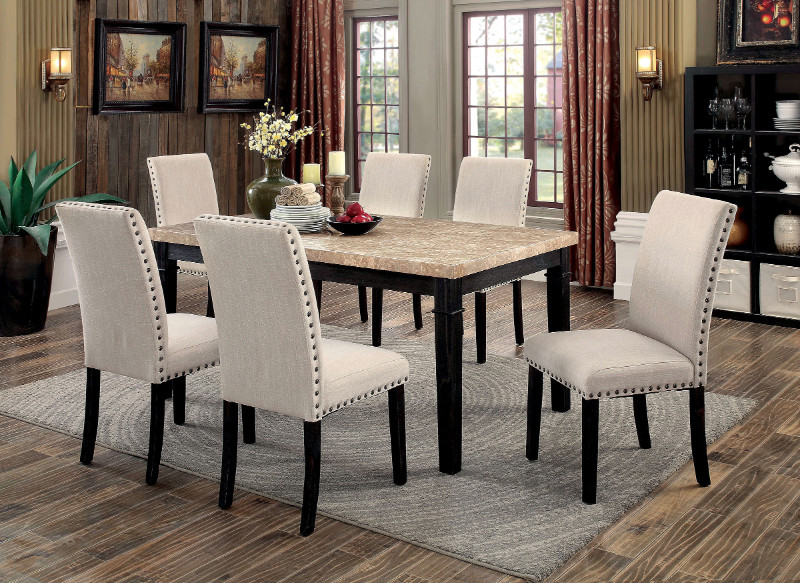 Furniture of america CM3466T-7pc 7 pc dodson i black finish wood faux marble top dining table set