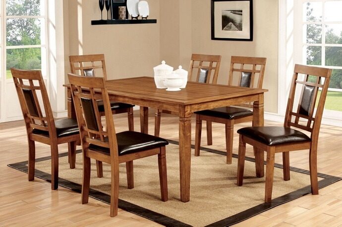 CM3502T-7PK 7 pc Freeman I collection contemporary style oak finish wood dining set with dark upholstered chairs