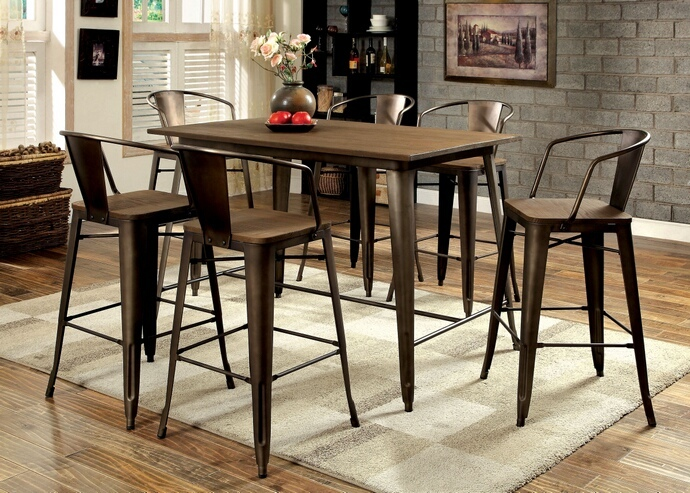 CM3529PT 7 pc Cooper II collection natural elm finish wood top and metal finish legs counter height dining table set