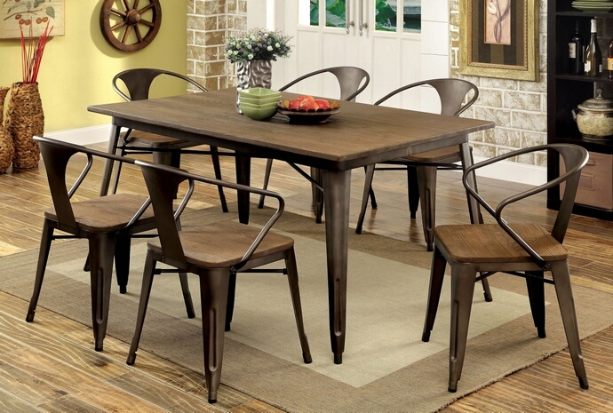 Furniture of america CM3529T-7PC 7 pc cooper i natural elm finish wood top and metal finish legs dining table set