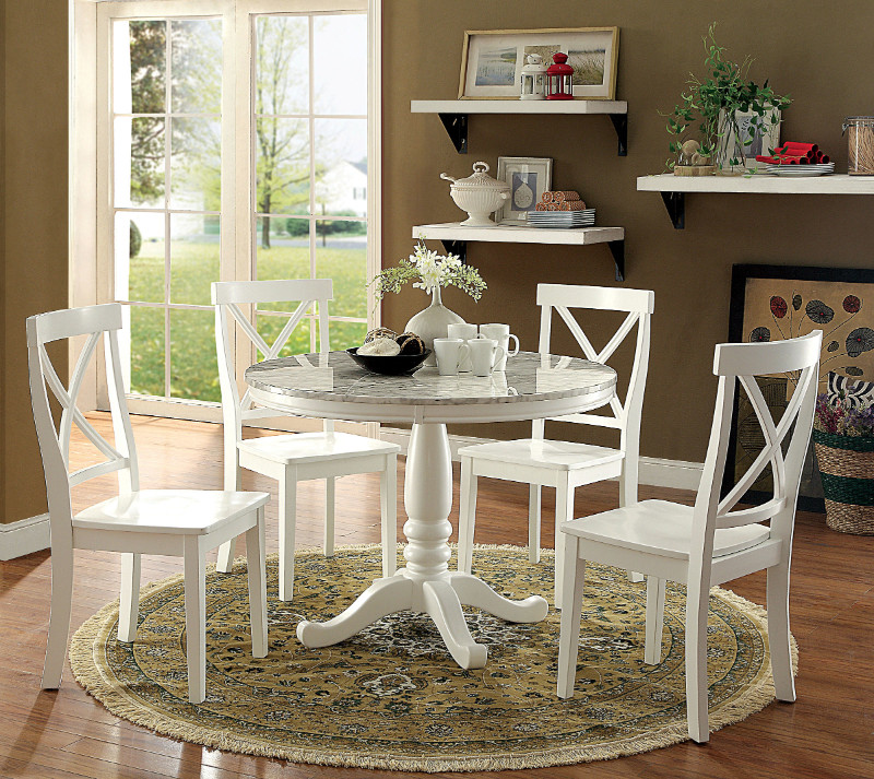 "Furniture of america CM3546RT- 5 pc penelope white finish wood and faux marble 42"" round dining table set"