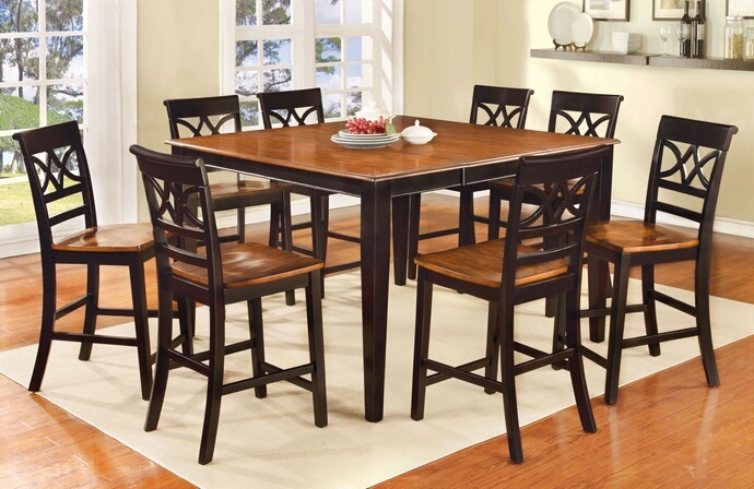 CM3552BC-PT 7 pc Torrington II collection country style two tone vintage black and oak finish wood counter height dining table set with wood seats