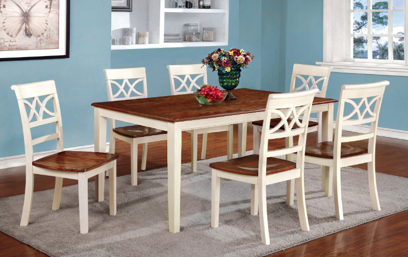 CM3552WC-T 7 pc Torrington collection country style two tone vintage white and oak finish wood dining table set