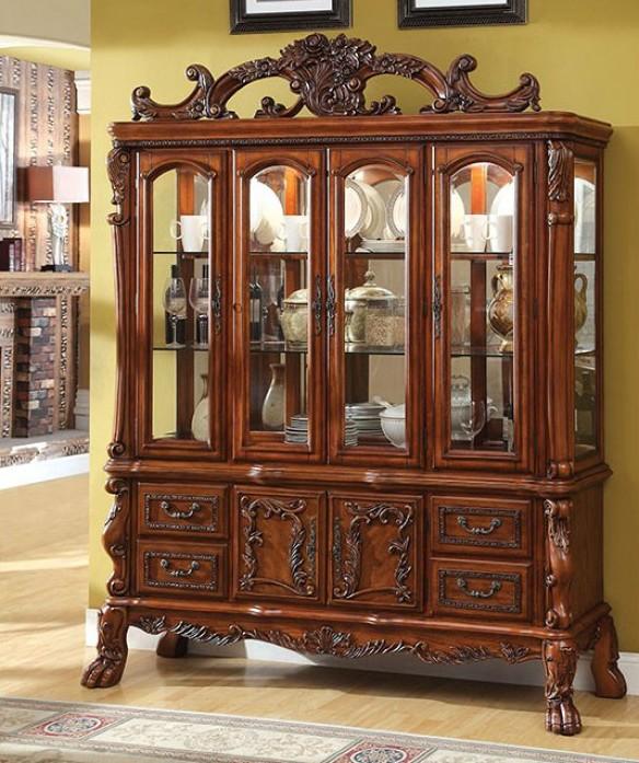 CM3557HB Helena evangeline medieve antique oak finish wood elegant Hutch and buffet china cabinet