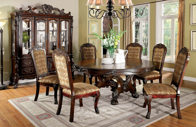 CM3557CH-RT-7PC 7 pc medieve collection cherry finish wood elegant large round dining table set with upholstered back chairs