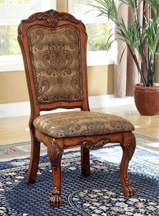 CM3557SC-2PK Set of 2 Helena evangeline medieve antique oak finish wood elegant formal style side chairs