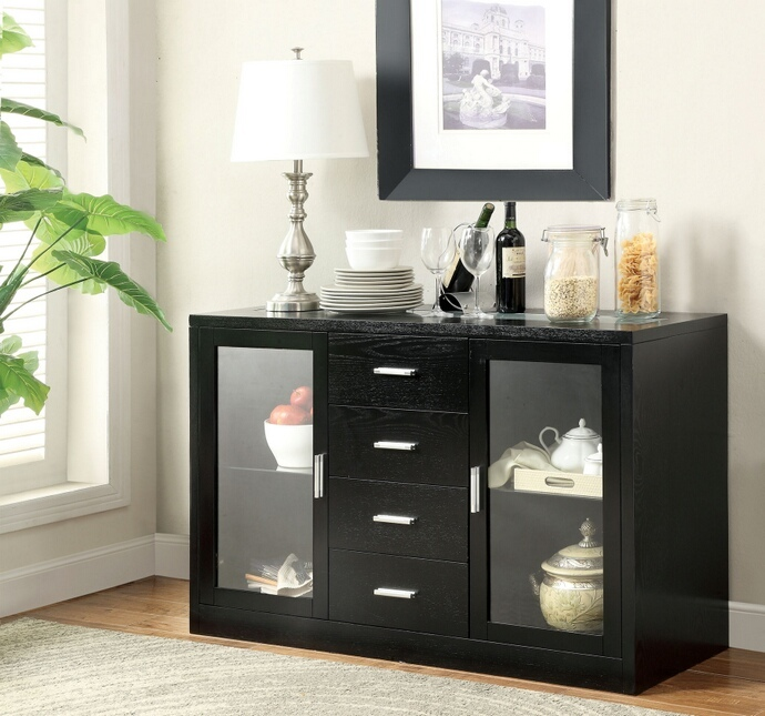 Furniture of america CM3559SV Luminar i black finish wood server with center led frosted glass light strip on top