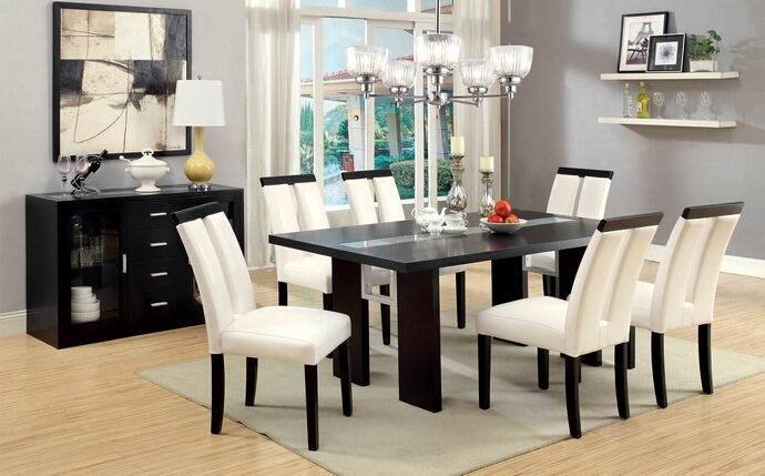 CM3559T-SC 7 pc Luminar I collection contemporary style espresso finish wood dining table set with Center Led frosted glass light strip