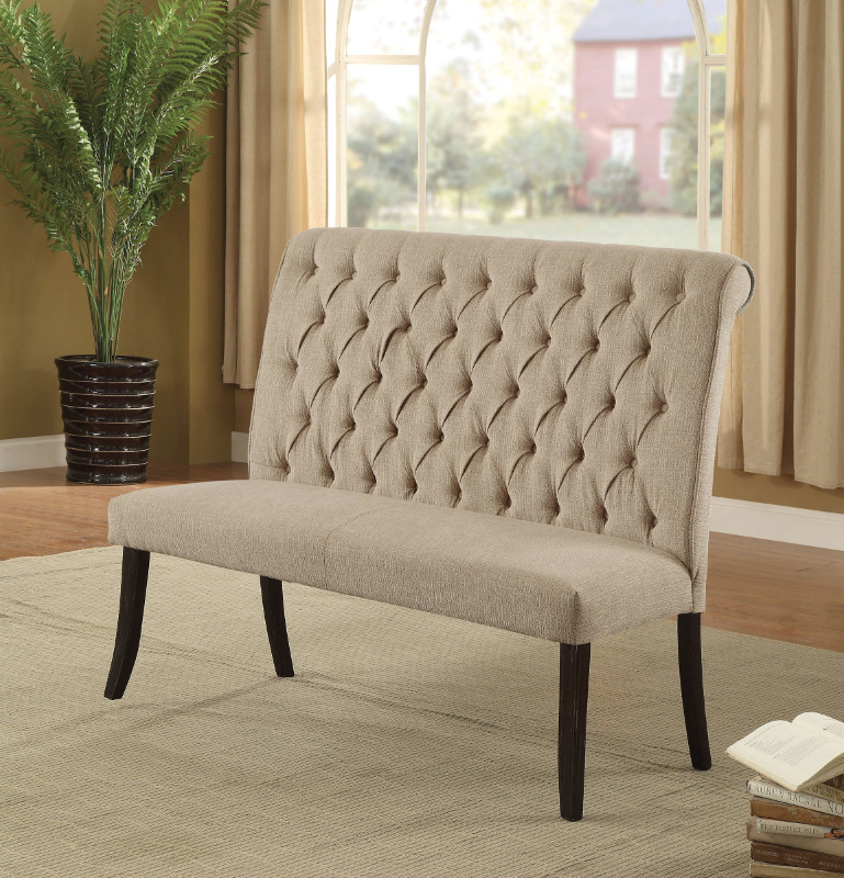 Furniture of america CM3564BN Marshall beige linen like fabric antique black finish wood dining bench