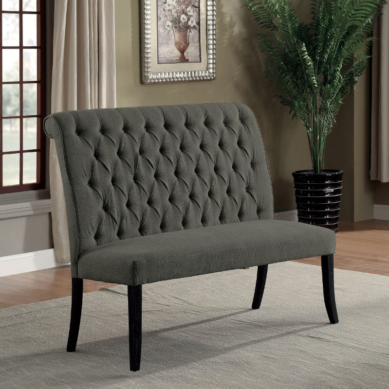 Furniture of america CM3564GY-BN Marshall gray linen like fabric antique black finish wood dining bench