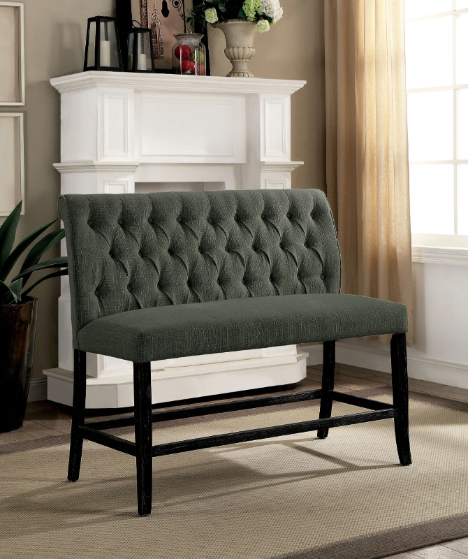 Furniture of america CM3564GY-PBN Set of 2 Marshall gray linen like fabric antique black finish wood counter height bench