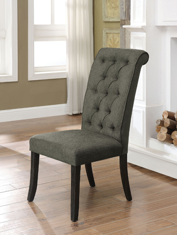 Furniture of america CM3564GY-SC Set of 2 Marshall gray linen like fabric antique black finish wood side chairs