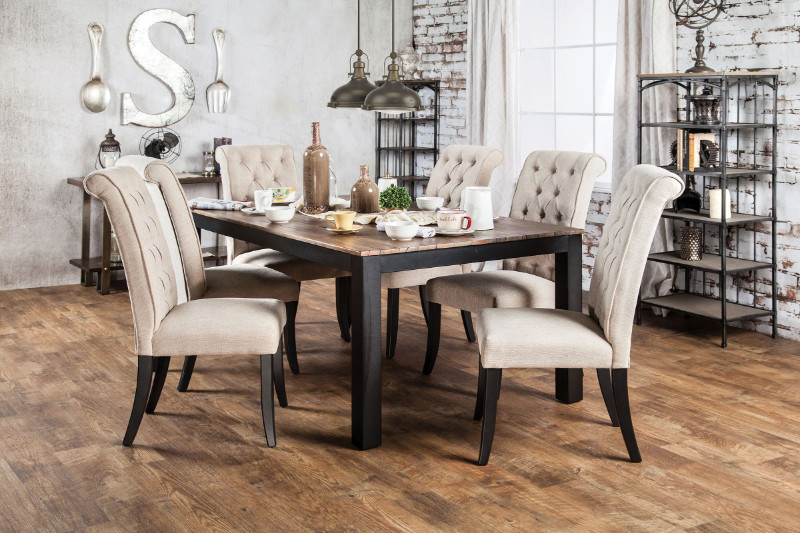 CM3564T 7 pc Marshall collection rustic oak finish wood transitional style dining table set with tufted chairs